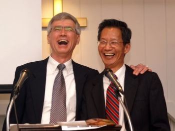 Sharing a laugh with another pastor