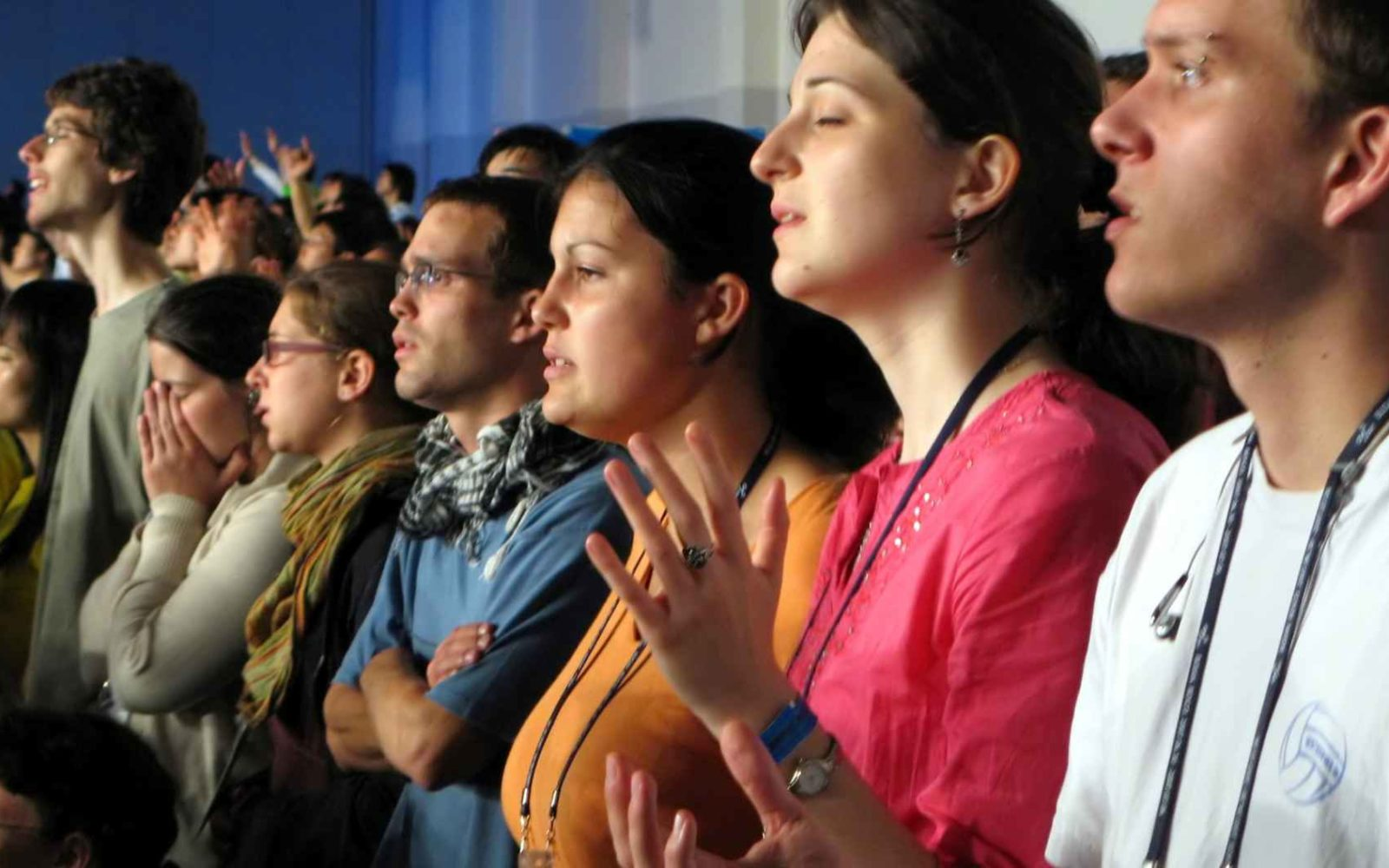 People worshiping at church