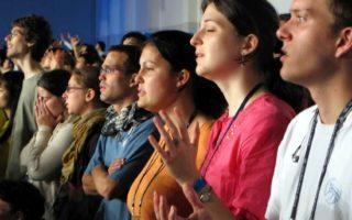 People worshiping at church