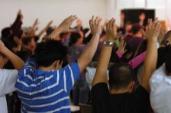 Hands raised  in worship
