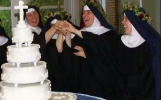 Nuns with wedding cake